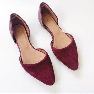 J. Jill D'Orsay Flats Burgundy Leather & Suede